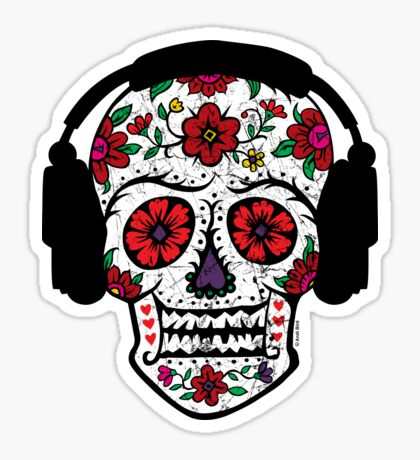 Sugar Skull with Headphones Sticker