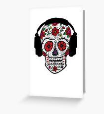 Sugar Skull with Headphones Greeting Card