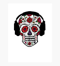 Sugar Skull with Headphones Photographic Print