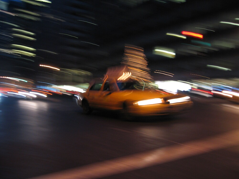 yellow cab in downtown manhatten by Muwi
