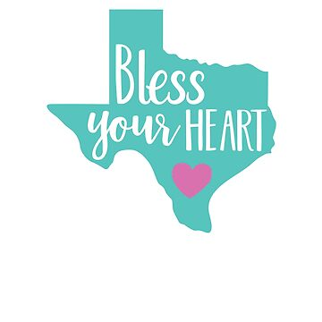 Bless Your Heart Turquoise and Pink Funny Womens Texas by TexasLove