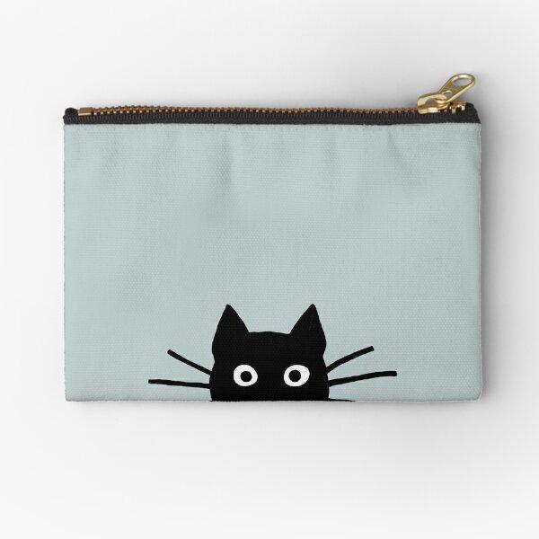 Black Cat Face Zipper Pouch