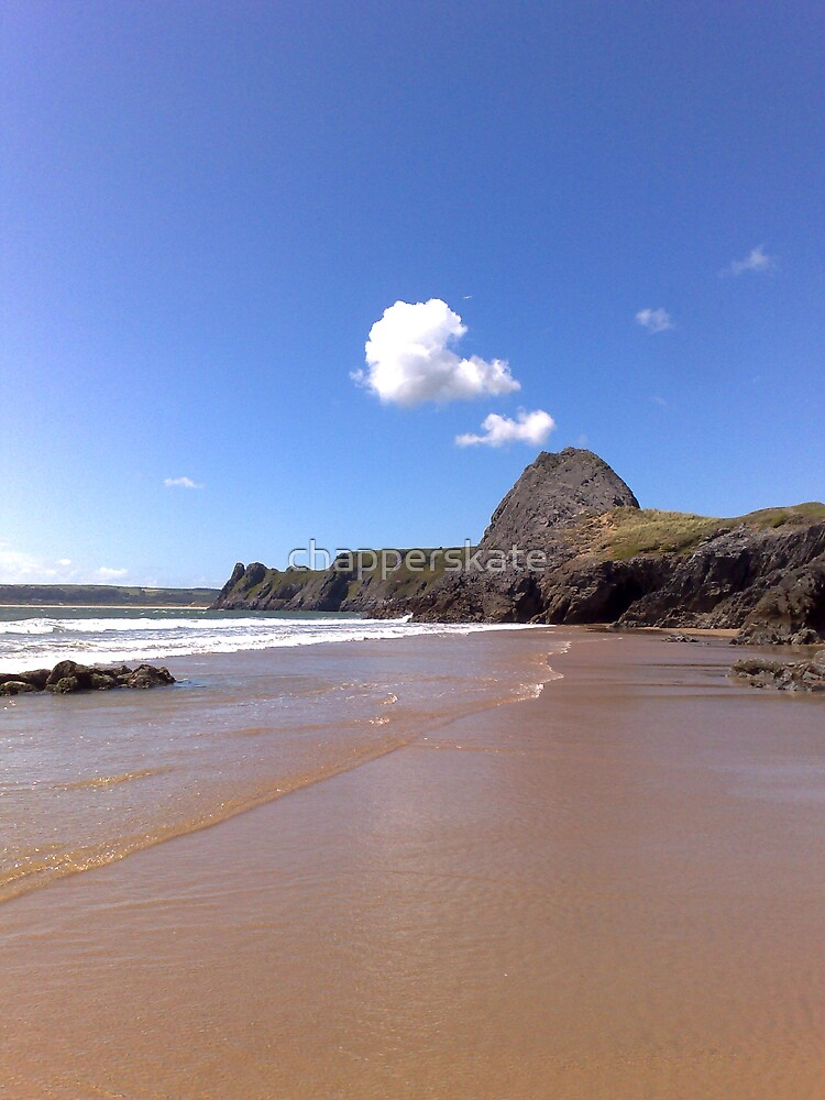 Pobbles, looking to Three Cliffs, The Gower by chapperskate