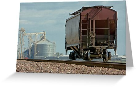 A Lone Grain Hopper Stands Idle on the Tracks by Buckwhite