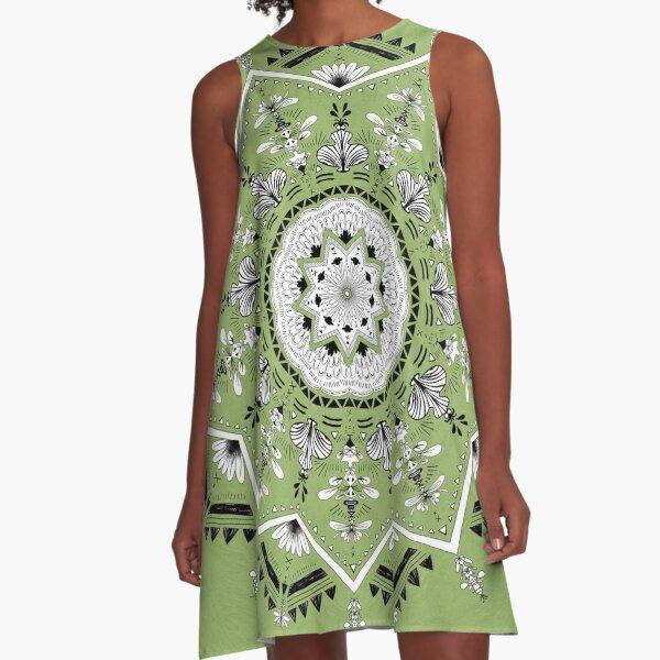 Star Mandala Green A-Line Dress