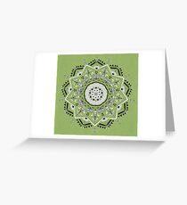 Star Mandala Green Greeting Card