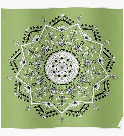 Star Mandala Green Poster