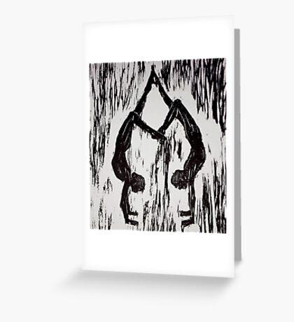 Yoga Couple 2 - Woodcut Greeting Card