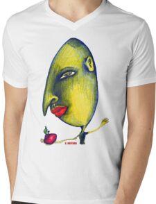 Man with Apple Mens V-Neck T-Shirt