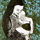"""Mother and Son - Etching by Belinda """"BillyLee"""" NYE (Printmaker)"""