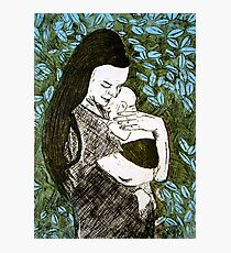 Mother and Son - Etching Photographic Print