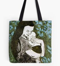 Mother and Son - Etching Tote Bag