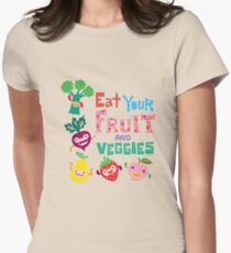 Eat your Fruit and Veggies - beige Women's Fitted T-Shirt