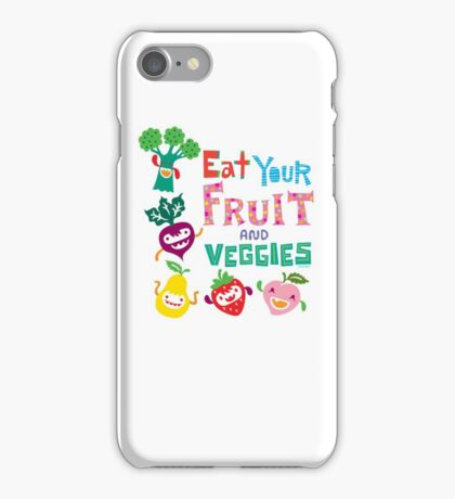 Eat your Fruit and Veggies - beige iPhone Case/Skin
