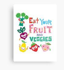 Eat your Fruit and Veggies - beige Metal Print
