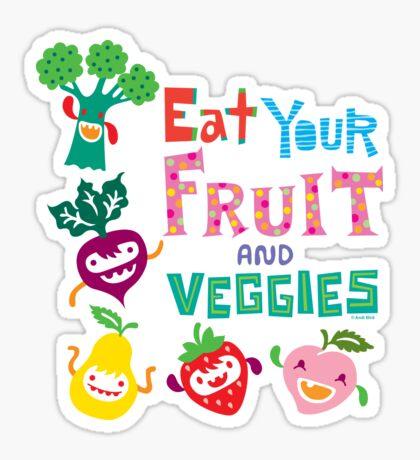 Eat your Fruit and Veggies - beige Sticker