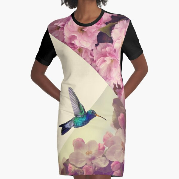 Hummingbird in love Graphic T-Shirt Dress