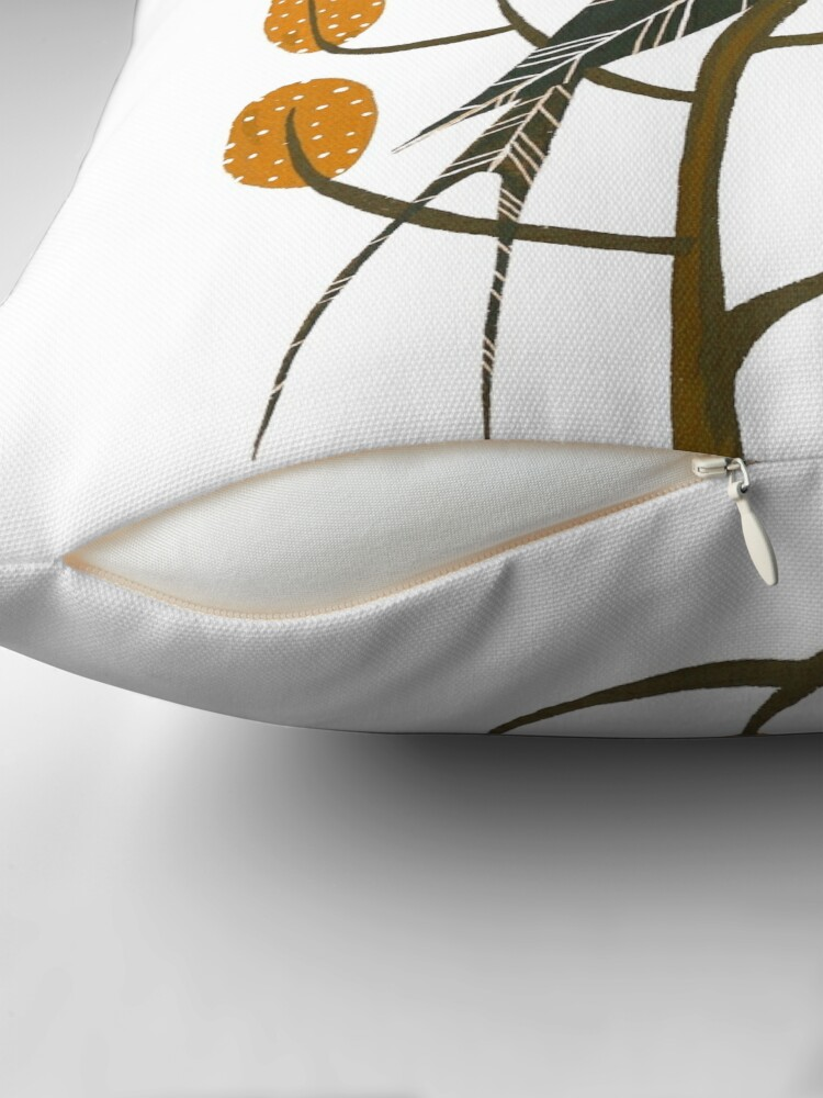 Alternate view of Swallow in golden brown Throw Pillow