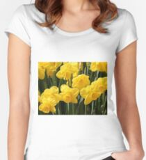 Yellow Daffodil flowers Women's Fitted Scoop T-Shirt