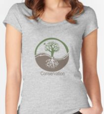 Conservation Tree Symbol brown green Women's Fitted Scoop T-Shirt