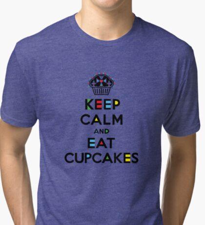 Keep Calm and Eat Cupcakes - mondrian  Tri-blend T-Shirt