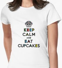 Keep Calm and Eat Cupcakes - mondrian  Women's Fitted T-Shirt