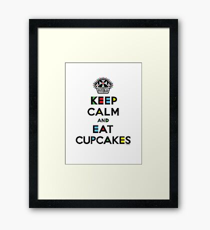 Keep Calm and Eat Cupcakes - mondrian  Framed Print