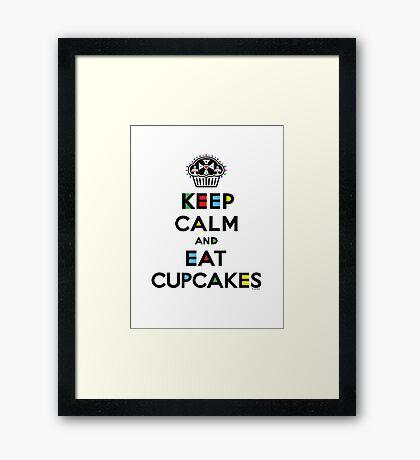 Keep Calm and Eat Cupcakes - mondrian  Framed Print