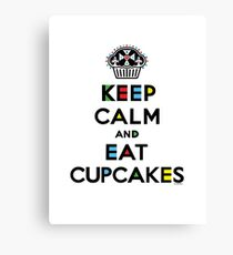 Keep Calm and Eat Cupcakes - mondrian  Canvas Print