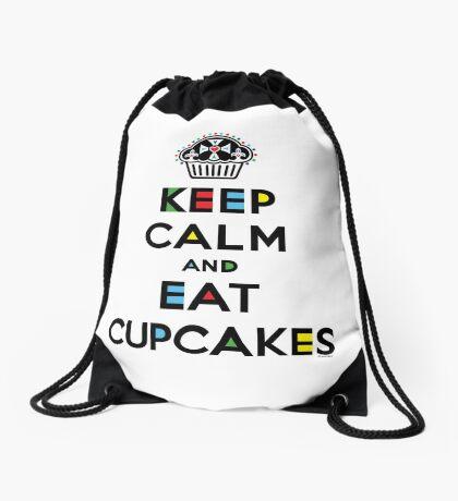 Keep Calm and Eat Cupcakes - mondrian  Drawstring Bag