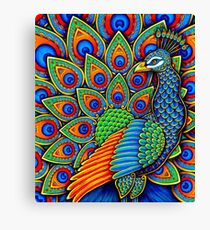 Colorful Paisley Peacock Bird Canvas Print