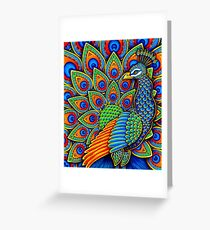 Colorful Paisley Peacock Bird Greeting Card