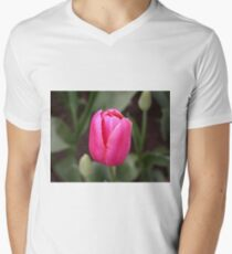 Single pink tulip bloom Men's V-Neck T-Shirt