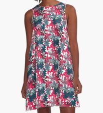 red and darkblue leaves A-Line Dress