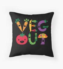 Veg Out dark Throw Pillow