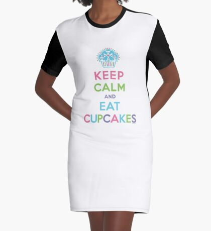 Keep Calm and Eat Cupcakes - on darks Graphic T-Shirt Dress