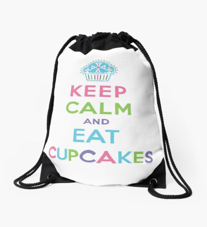 Keep Calm and Eat Cupcakes - on darks Drawstring Bag