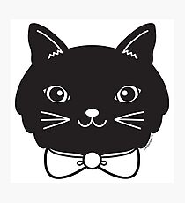 Cool Black Kitty Cat Face Photographic Print