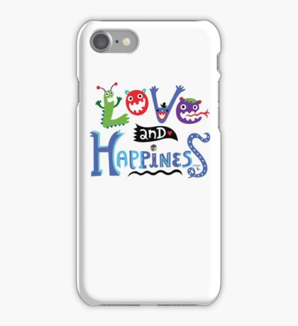 Love & Happiness  - beige iPhone Case/Skin