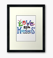 Love & Happiness  - beige Framed Print
