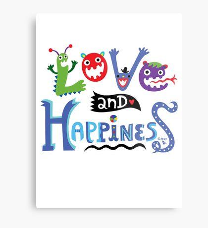 Love & Happiness  - beige Metal Print