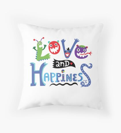 Love & Happiness  - beige Throw Pillow