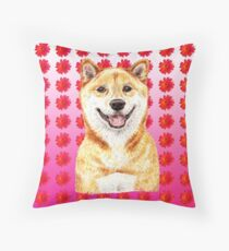 Shiba Inu Daisy Fun Throw Pillow