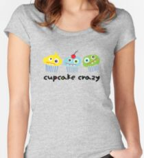 Cupcake Crazy - beige Women's Fitted Scoop T-Shirt