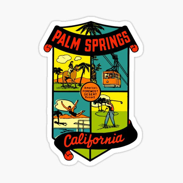 Palm Springs California Vintage Travel Decal 2 Sticker