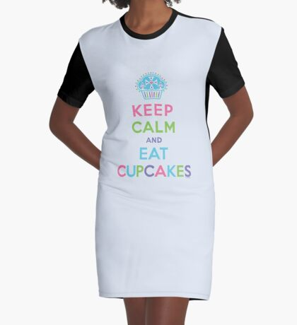 Keep Calm and Eat Cupcakes - beige Graphic T-Shirt Dress
