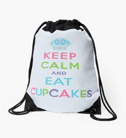 Keep Calm and Eat Cupcakes - beige Drawstring Bag
