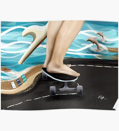 Seaside Skater Poster