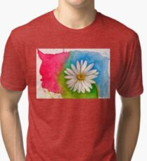 Watercolor Daisy Paint Splatter Tri-blend T-Shirt