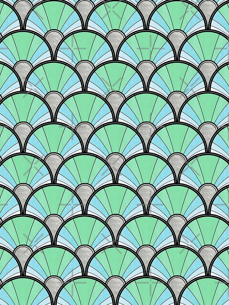 Pastel Green and Silver Ombre Deco Pattern by suzzincolour